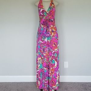 Lilly Pulitzer fucshia/teal fancy maxi dress-S